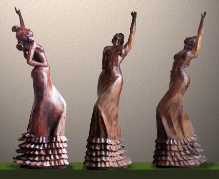"""Her Dance Has Begun"" Hand Carved Wooden Sculpture by Sculptor Lorenzo Foncerrada  (frontal views)"