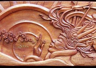 Sea Witch Carved Wood Panel - Face Detail View