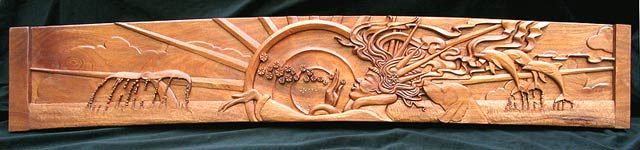 Sea Witch Carved Wood Panel for Yacht - Full View