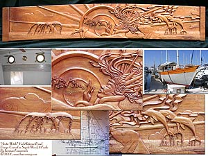 Sea Witch Carved Wood Panel - Overview with Yacht
