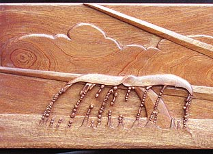 Sea Witch Carved Wood Panel - Whale Tail Detail View